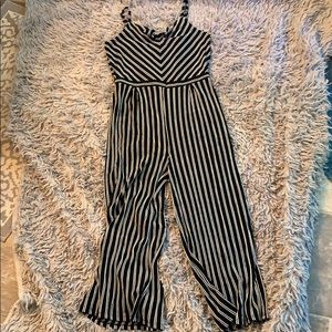 Black and white Striped girls jumpsuit XL (14-16)